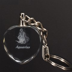 Aquarius Zodiac 3D Engraving Heart Key Chain