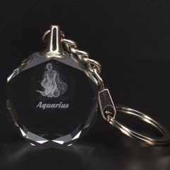 Aquarius Zodiac 3D Engraving Circle Key Chain