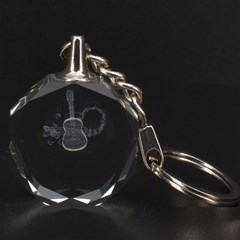 Guitar 3D Engraving Circle Key Chain