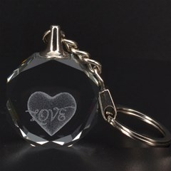 Heart 3D Engraving Circle Key Chain