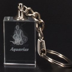 Aquarius Zodiac 3D Engraving Key Chain