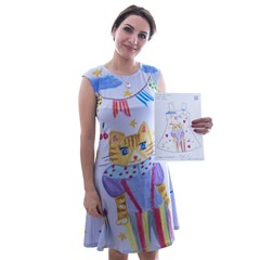 Cap Sleeve Midi Dress A4 Paper Drawing