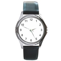 Round Leather Watch (Silver Rim)