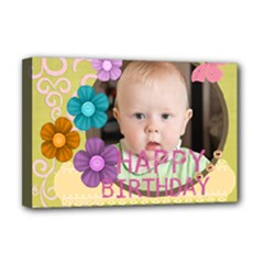 flower , kids, happy, fun, green - Deluxe Canvas 18  x 12  (Stretched)