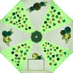 Green Umbrella with clovers and green flowers - Folding Umbrella
