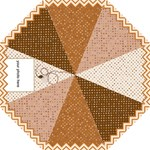 Umbrella in Beige and Brown on squared and chevron - Hook Handle Umbrella (Medium)