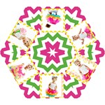 pink green chevron with photos - Mini Folding Umbrella