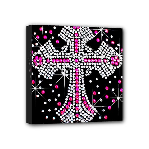 Hot Pink Rhinestone Cross 4  X 4  Framed Canvas Print by artattack4all