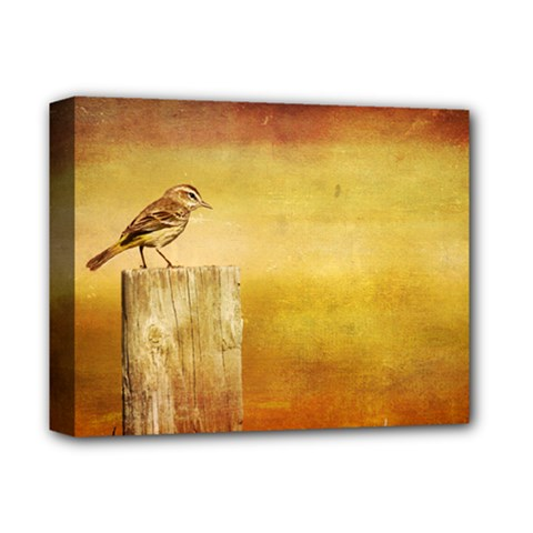 Bird On A Fence Deluxe Canvas 14  X 11  (stretched) by heathergreen