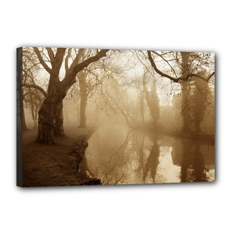 misty morning 12  x 18  Framed Canvas Print by artposters
