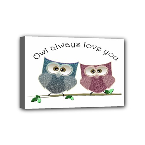 Owl Always Love You, Cute Owls 4  X 6  Framed Canvas Print by DigitalArtDesgins