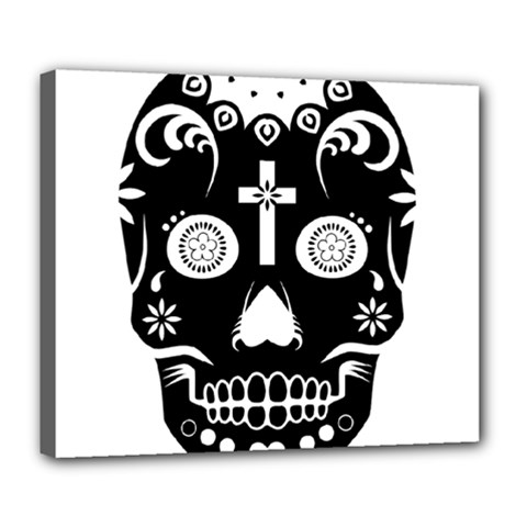 Sugar Skull Deluxe Canvas 24  X 20  (framed) by asyrum