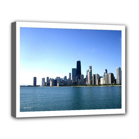 Chicago Skyline Deluxe Canvas 20  X 16  (framed) by canvasngiftshop
