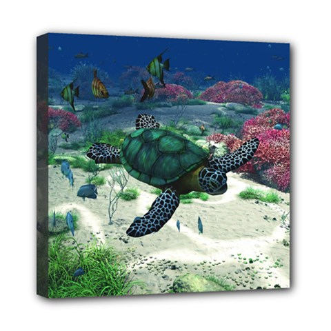Sea Turtle Mini Canvas 8  X 8  (stretched)