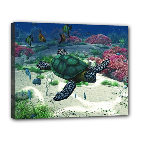 Sea Turtle Canvas 14  X 11  (stretched) by gatterwe