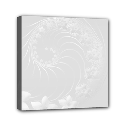 Light Gray Abstract Flowers Mini Canvas 6  X 6  (framed) by BestCustomGiftsForYou