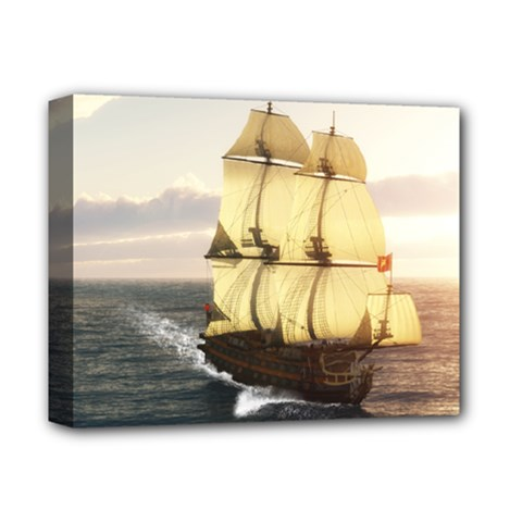 French Warship Deluxe Canvas 14  X 11  (framed) by gatterwe