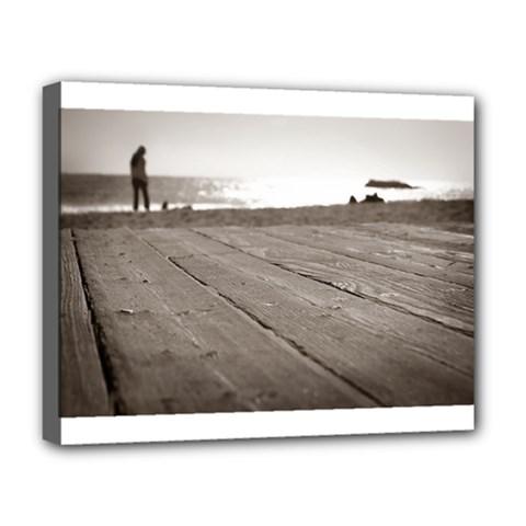 Laguna Beach Walk Deluxe Canvas 20  X 16  (framed) by hlehnerer