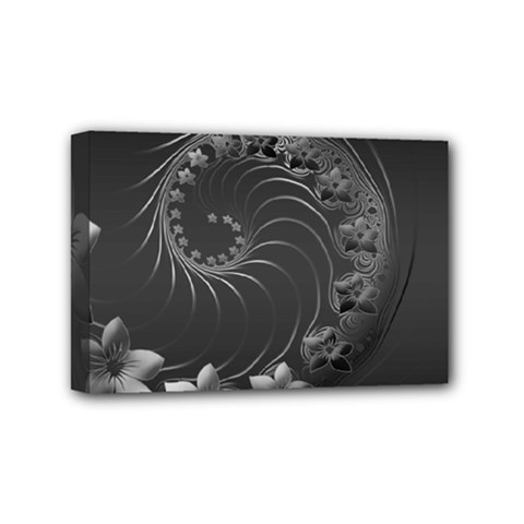 Dark Gray Abstract Flowers Mini Canvas 6  X 4  (framed) by BestCustomGiftsForYou