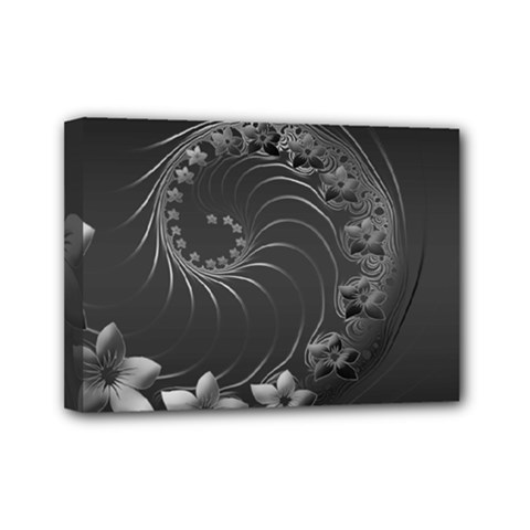 Dark Gray Abstract Flowers Mini Canvas 7  X 5  (framed) by BestCustomGiftsForYou