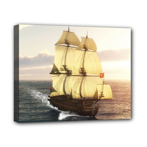 French Warship Canvas 10  X 8  (framed)