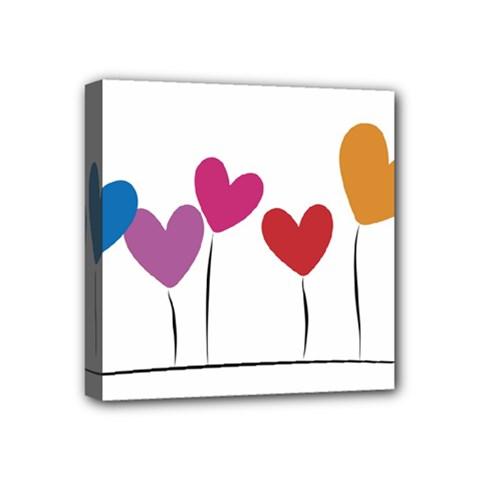 Heart Flowers Mini Canvas 4  X 4  (framed) by magann