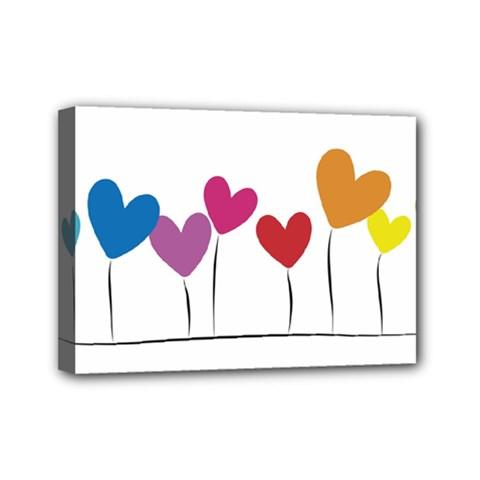 Heart Flowers Mini Canvas 7  X 5  (framed) by magann