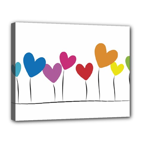 Heart Flowers Canvas 14  X 11  (framed) by magann