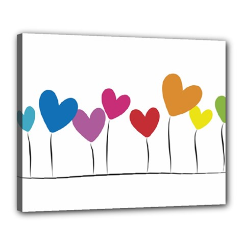 Heart Flowers Canvas 20  X 16  (framed) by magann