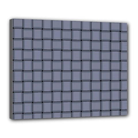 Cool Gray Weave Canvas 20  X 16  (framed) by BestCustomGiftsForYou