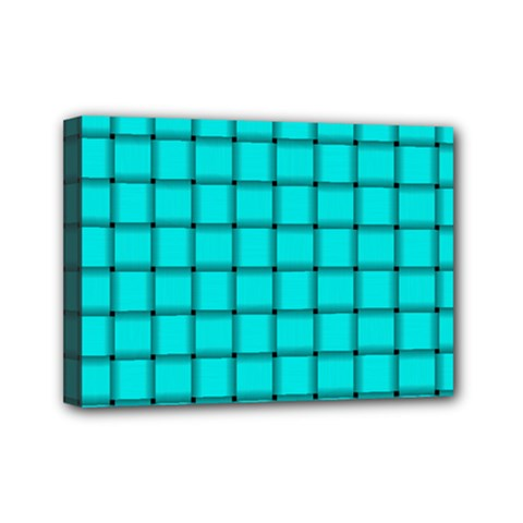 Cyan Weave Mini Canvas 7  X 5  (framed) by BestCustomGiftsForYou