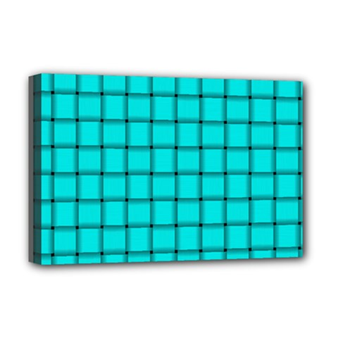 Cyan Weave Deluxe Canvas 18  X 12  (framed) by BestCustomGiftsForYou
