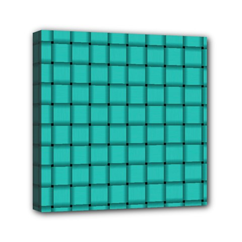 Turquoise Weave Mini Canvas 6  X 6  (framed)