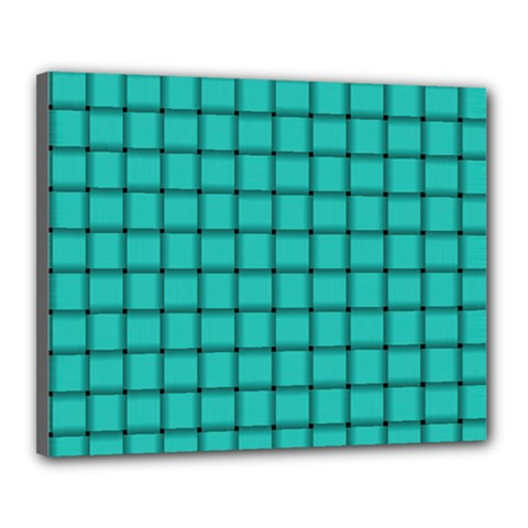 Turquoise Weave Canvas 20  X 16  (framed) by BestCustomGiftsForYou