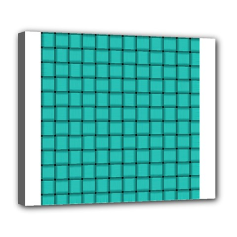 Turquoise Weave Deluxe Canvas 24  X 20  (framed) by BestCustomGiftsForYou