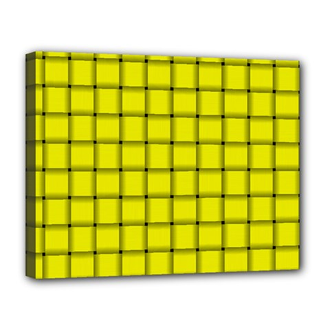 Yellow Weave Canvas 14  X 11  (framed) by BestCustomGiftsForYou