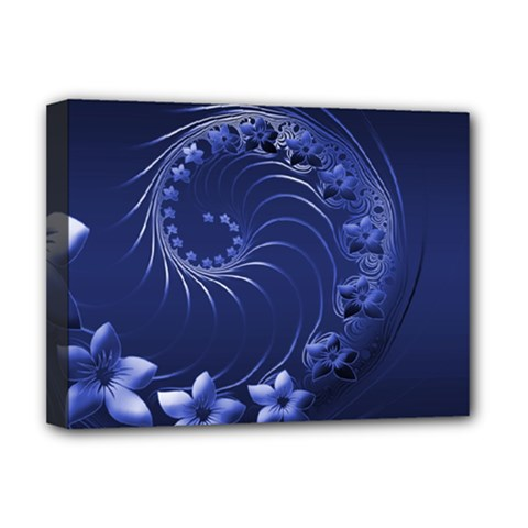 Dark Blue Abstract Flowers Deluxe Canvas 16  X 12  (framed)  by BestCustomGiftsForYou