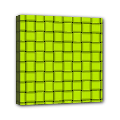 Fluorescent Yellow Weave Mini Canvas 6  X 6  (framed) by BestCustomGiftsForYou