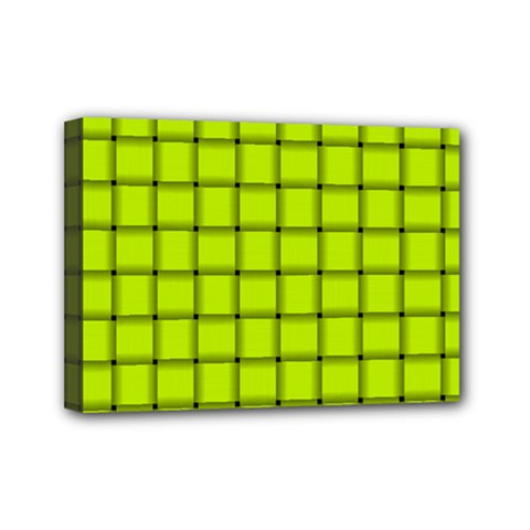 Fluorescent Yellow Weave Mini Canvas 7  X 5  (framed) by BestCustomGiftsForYou
