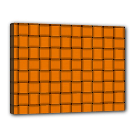 Orange Weave Canvas 16  X 12  (framed)