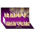 Purple Happy New Year 3D Card - Happy New Year 3D Greeting Card (8x4)