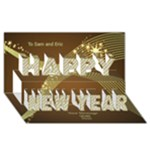 Gold New Year 3D Card - Happy New Year 3D Greeting Card (8x4)