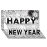 Silver happy New Year 3D card - Happy New Year 3D Greeting Card (8x4)