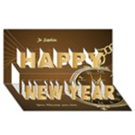 Gold Time Happy New Year 3D Card - Happy New Year 3D Greeting Card (8x4)