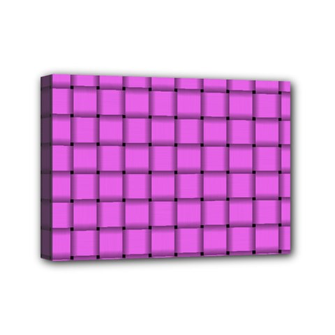 Ultra Pink Weave  Mini Canvas 7  X 5  (framed) by BestCustomGiftsForYou