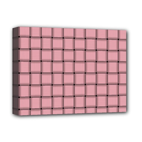 Light Pink Weave Deluxe Canvas 16  X 12  (framed)