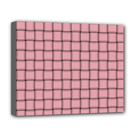 Light Pink Weave Deluxe Canvas 20  X 16  (framed) by BestCustomGiftsForYou