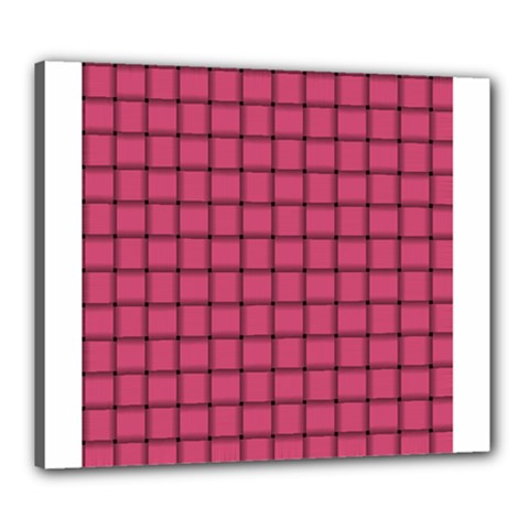 Dark Pink Weave Canvas 24  X 20  (framed) by BestCustomGiftsForYou