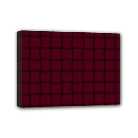 Dark Scarlet Weave Mini Canvas 7  X 5  (framed) by BestCustomGiftsForYou
