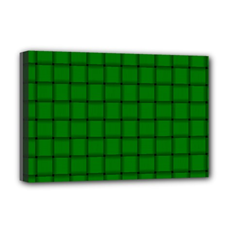 Green Weave Deluxe Canvas 18  X 12  (framed)